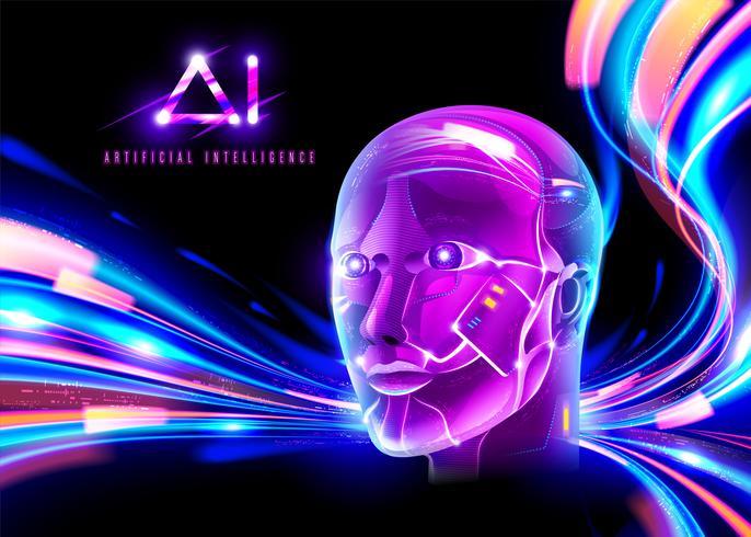 Technologie Cyberpunk AI vecteur