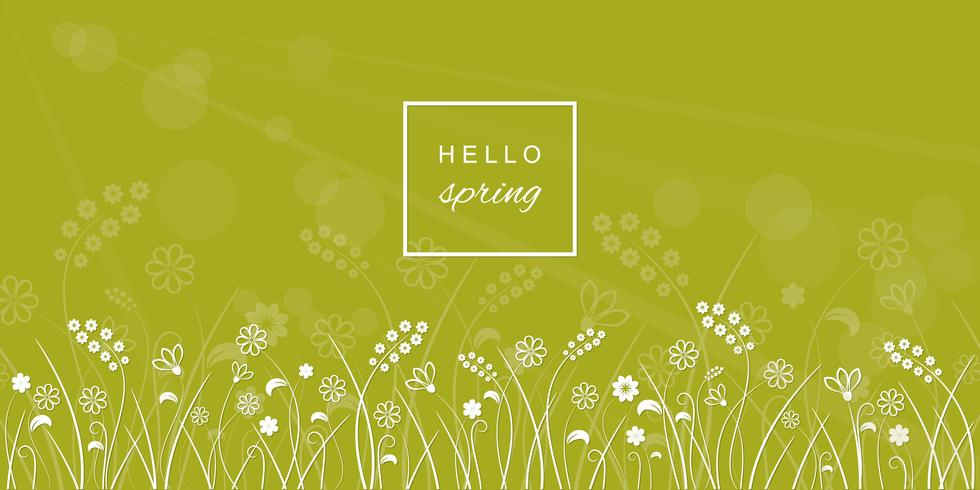 Bonjour les lettres de printemps sur fond flou pré. vecteur