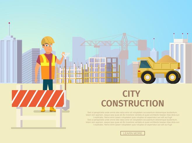 Modèle de page d'atterrissage de construction de ville vecteur