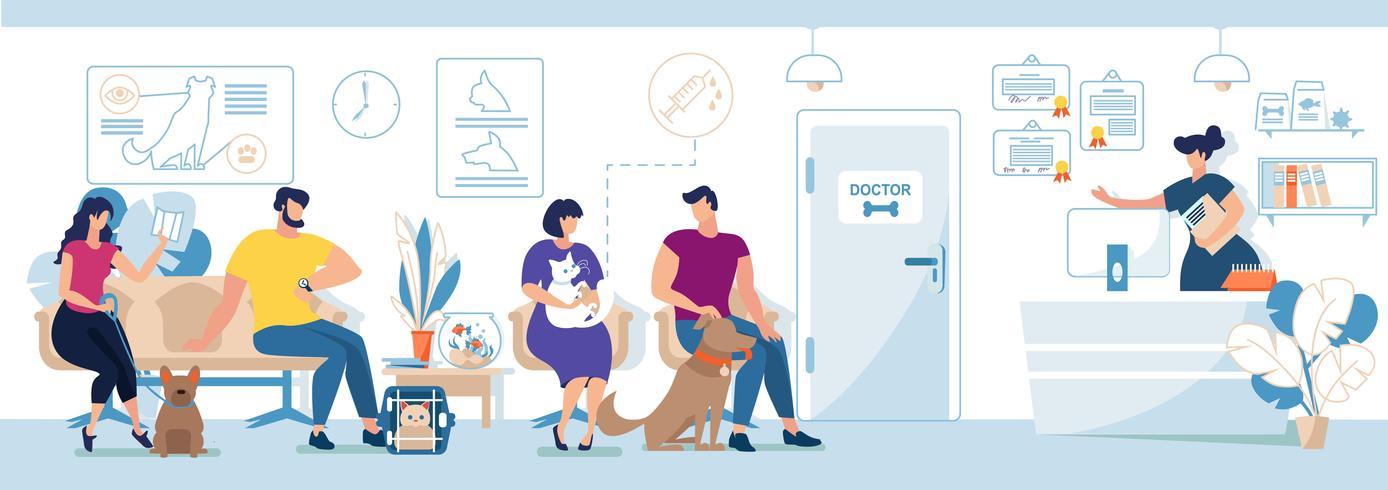 Visiteurs de la clinique vétérinaire avec animaux domestiques vecteur