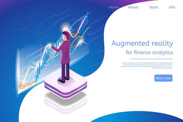 Réalité augmentée isométrique pour l'analyse financière vecteur