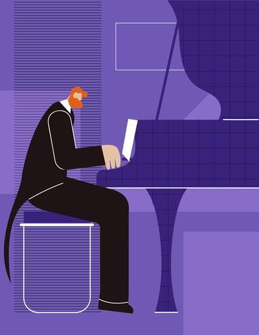 Affiche du pianiste vecteur