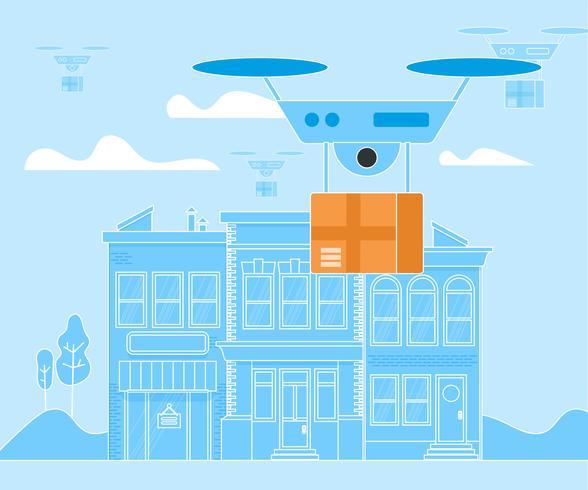 Drone numérique drop off vecteur