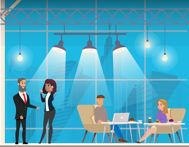 Les gens d'affaires dans l'espace ouvert moderne de coworking vecteur