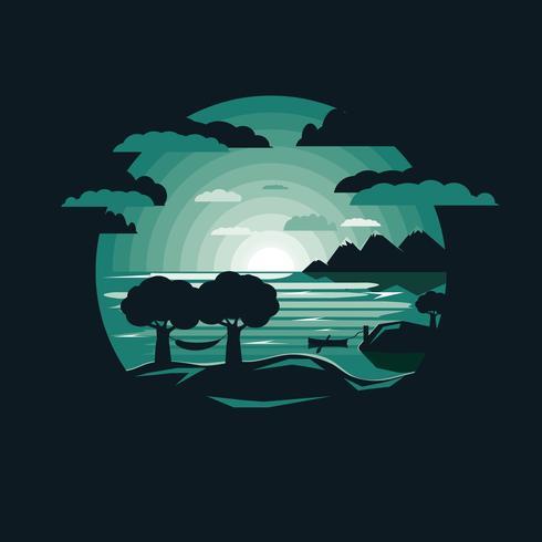 Silhouette, hamac, mont, bord lac vecteur