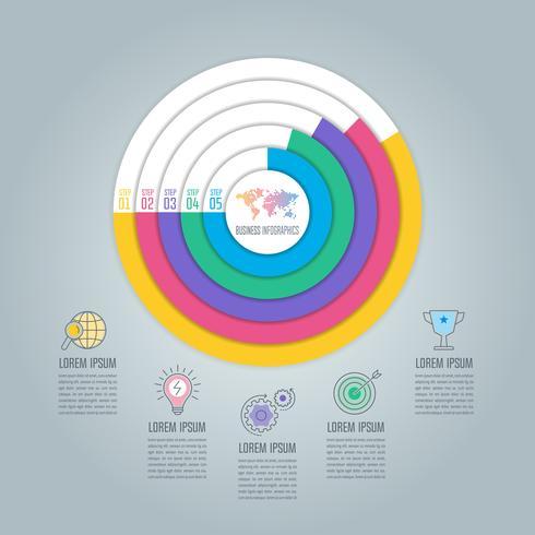 Chargement du concept d'entreprise de conception infographique avec 5 options, pièces ou processus. vecteur
