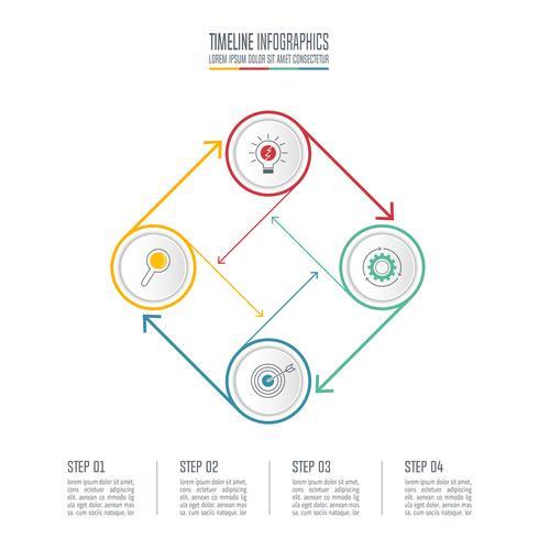 Concept d'entreprise de conception infographique cercle connecté avec 4 options. vecteur