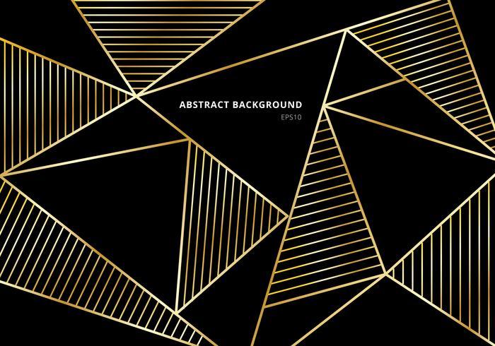 Motif polygonal de luxe en or sur fond noir vecteur