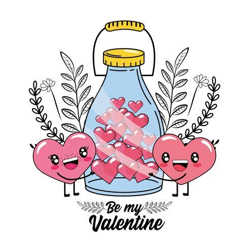 couple de coeur et bouteille contenant des coeurs pour la Saint Valentin vecteur