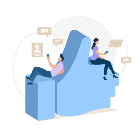 Discuter avec un ami dans un réseau social vecteur