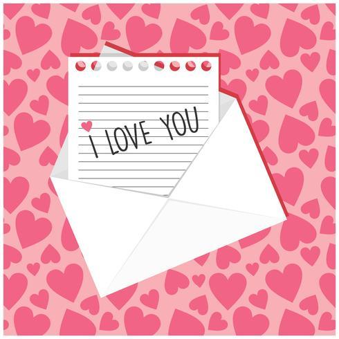 Note avec je t'aime écrit dessus vecteur