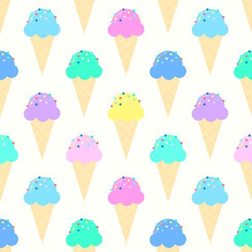 Modèle de cornets de crème glacée colorée vecteur