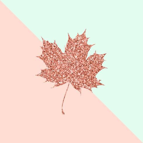 Feuille d'érable en or rose sur fond de couleur pastel vecteur