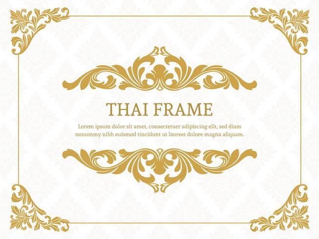 Cadre de bordure à thème thaï élégant et doré vecteur