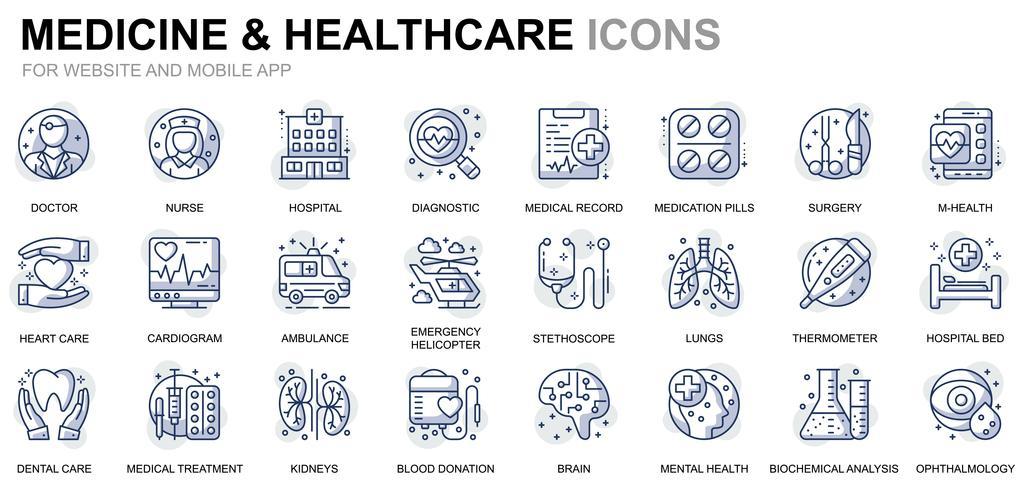 Icônes de ligne de soins de santé et de médecine vecteur