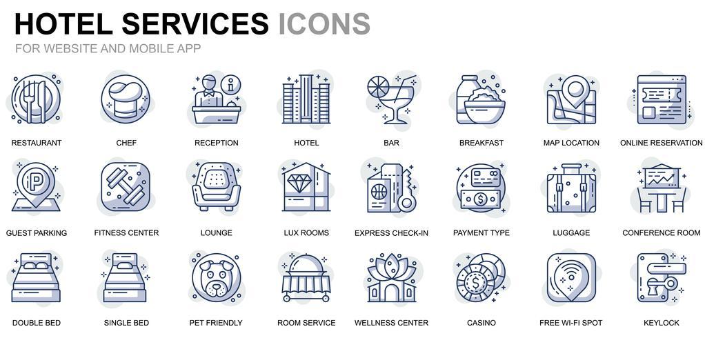 Icônes de ligne de service d'hôtel vecteur