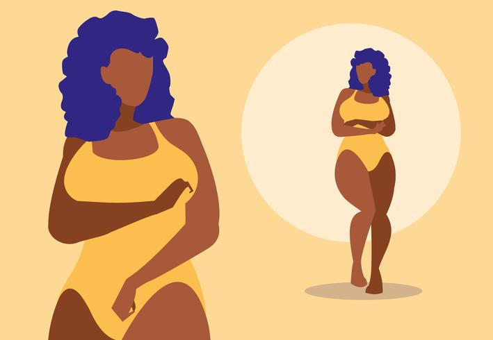 Femmes afro-américaines modelant des sous-vêtements vecteur