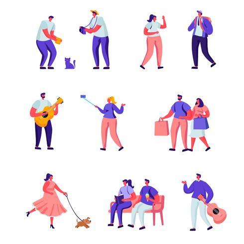 Ensemble de personnages de rue et musiciens de rue vecteur