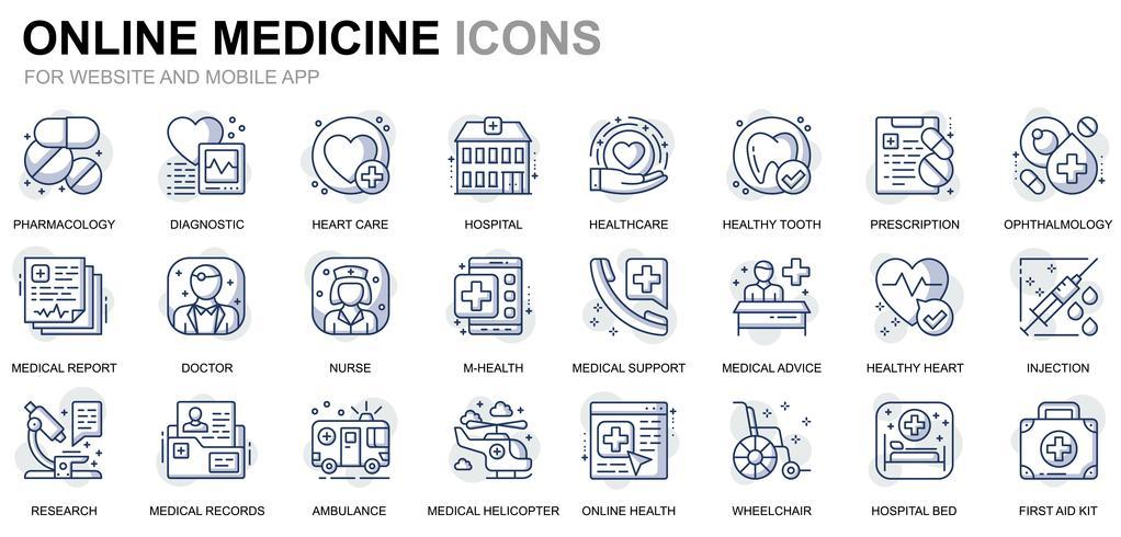 Ligne de santé et icônes médicales vecteur