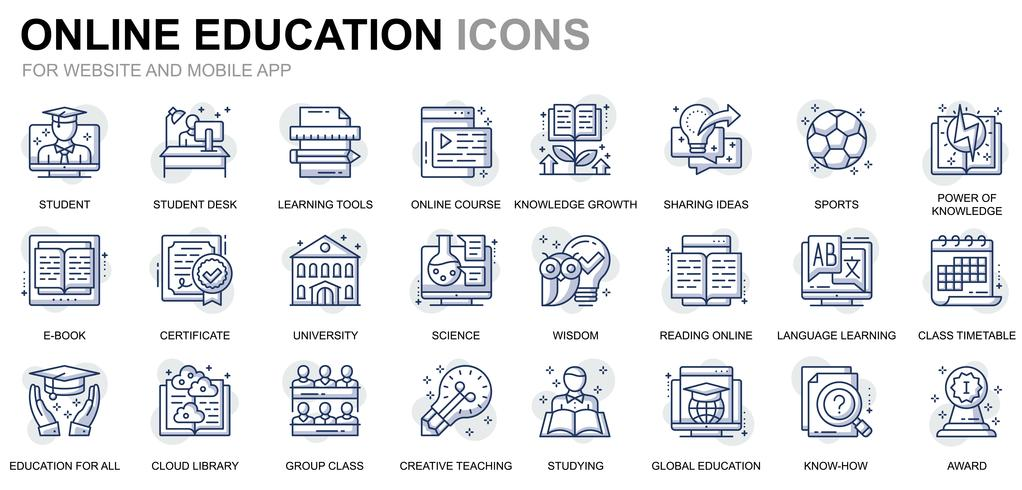 Education et connaissances Line Icons vecteur