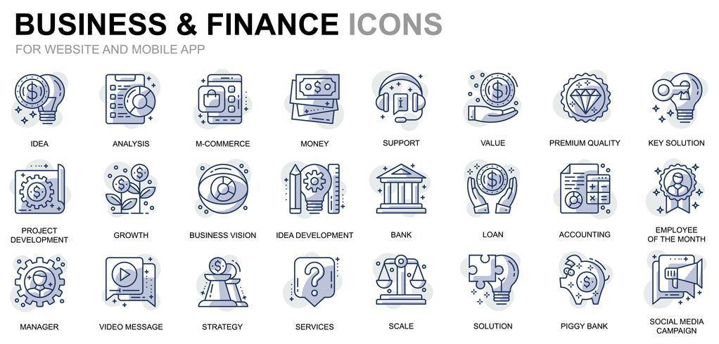 Icônes de ligne affaires et finances vecteur