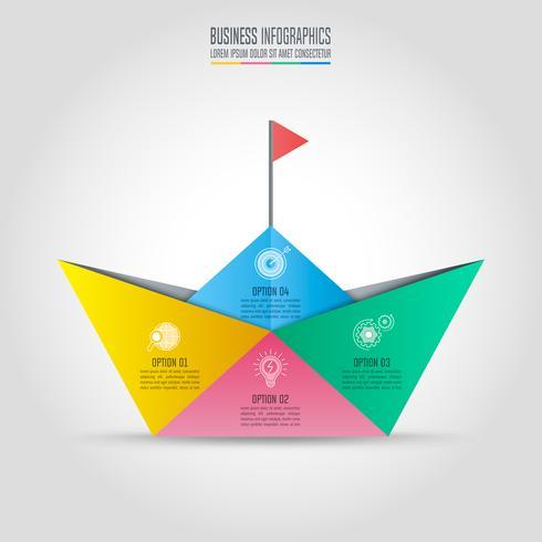 concept d'entreprise de conception infographique avec 4 options, pièces ou processus. vecteur