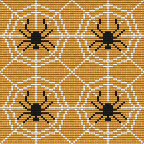 Texture de tricot sans couture avec araignée et web vecteur
