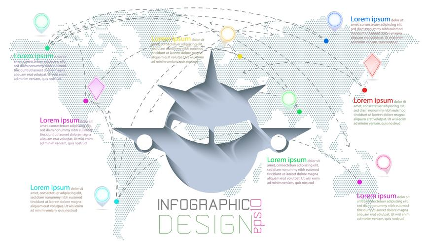 Infographie sur la communication des cartes du monde vecteur
