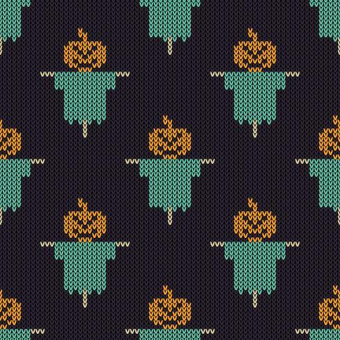 Texture de tricot sans couture avec épouvantail de potiron vecteur
