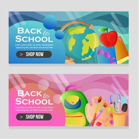 bannières de modèles d'école avec des objets de l'école vecteur