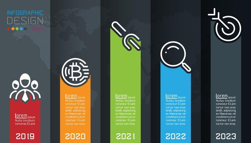 Cinq étiquettes avec infographie icône affaires vecteur