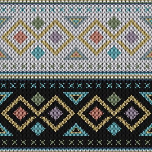 Motif tricoté ethnique coloré et géométrique vecteur