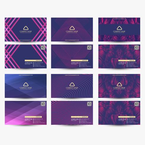 Cartes de visite violettes vecteur