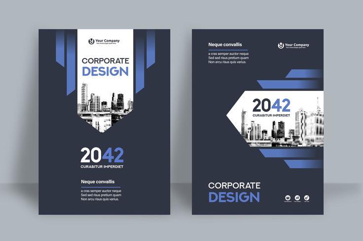 Modèle de conception de la couverture du livre Business Blue Blue Background vecteur