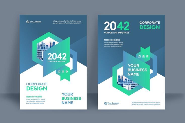 Modèle de conception de couverture de livre d'affaires fond bleu ville hexagonale vecteur