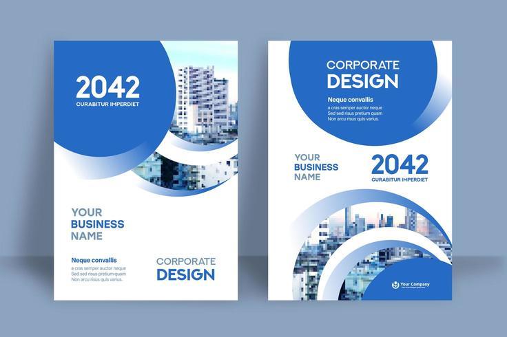 Modèle de conception de couverture de livre d'affaires circulaire ville bleue fond vecteur