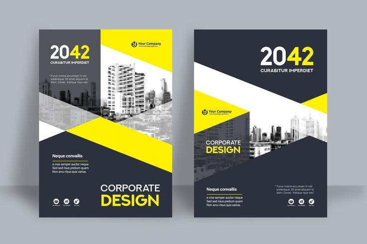 Modèle de conception de couverture de livre d'affaires fond ville jaune et noir vecteur