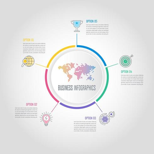 concept d'entreprise de conception infographique avec 5 options, pièces ou processus. vecteur