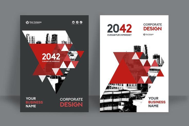 Modèle de conception de couverture de livre d'affaires fond ville rouge triangulaire vecteur