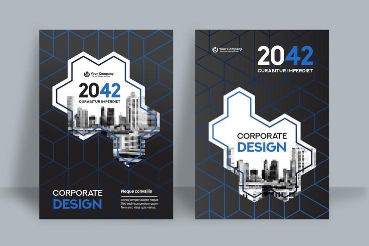 Modèle de conception de couverture de livre d'affaires fond ville hexagonale vecteur