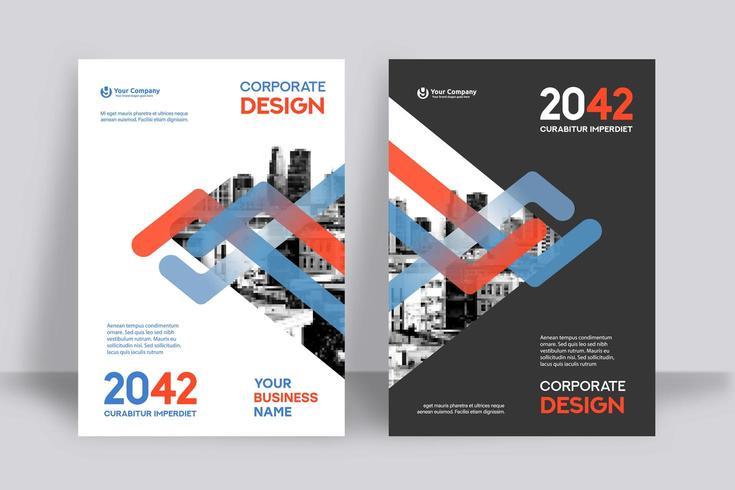 Modèle de conception de couverture de livre d'affaires fond lignes ville bleu et rouge vecteur