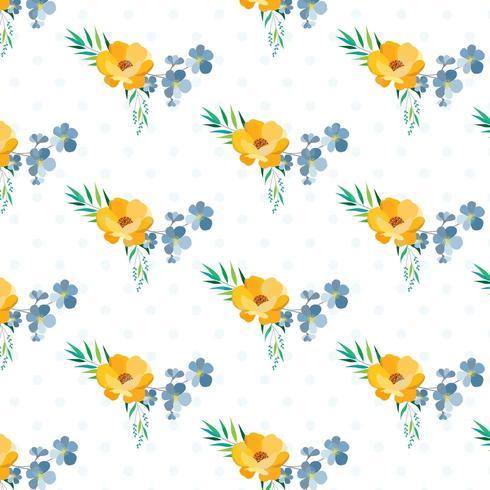 Polka Dot Layered motif floral vecteur