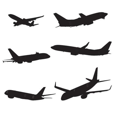 Jeu de silhouette d'avion vecteur
