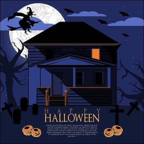 Flyer nuit d'halloween vecteur
