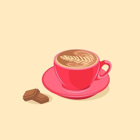 Tasse à café moka avec barres de chocolat vecteur