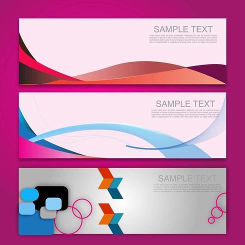 Ensemble de 3 bannières d'affaires géométriques colorées vecteur
