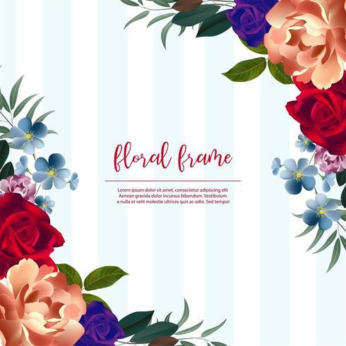 Blue Striped Beau cadre floral vecteur