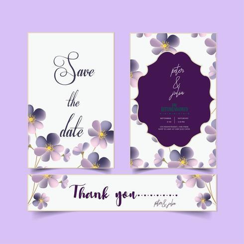 Collection de cartes d'invitation de mariage vecteur