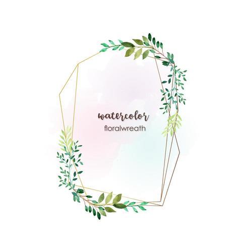 Cadre de verdure aquarelle rectangulaire vecteur