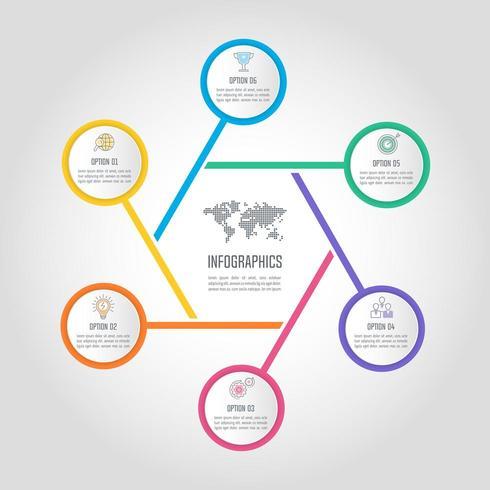 concept d'entreprise de conception infographique avec 6 options, pièces ou processus. vecteur
